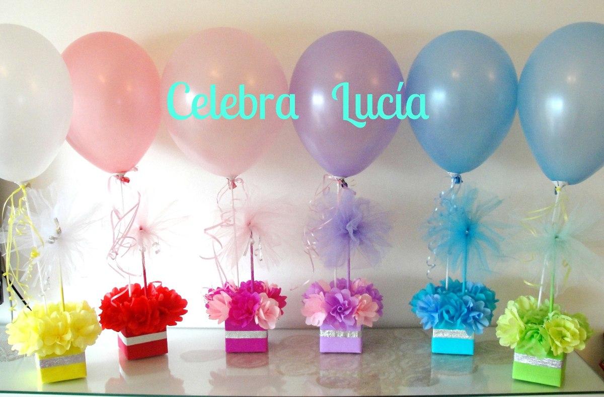 Centros de mesa con golosinas y globos para fiestas for Mesas cumpleanos infantiles
