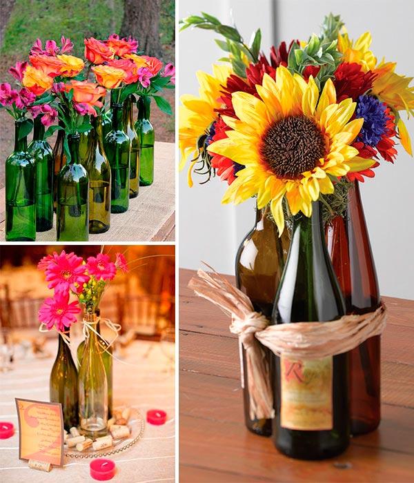 Centros de mesa infantiles con frascos y botellas de - Mesas de centro de colores ...