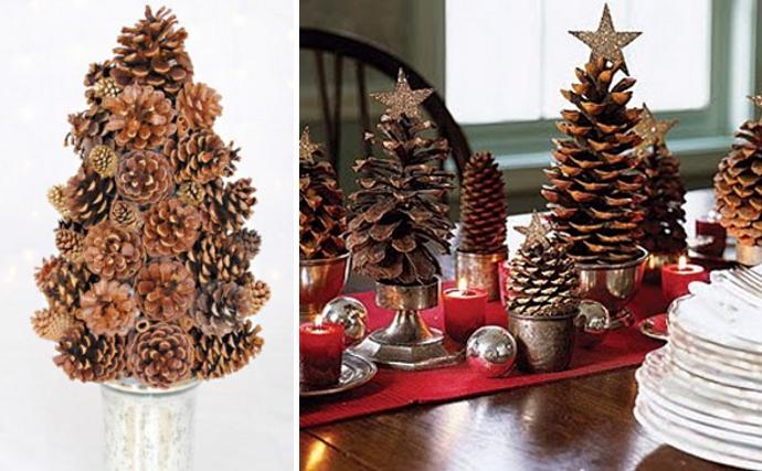 finest centros de mesa realizados con pias de diferentes tamaos with centros de mesa de navidad con pias with de navidad con pias - Adornos De Navidad Con Pias