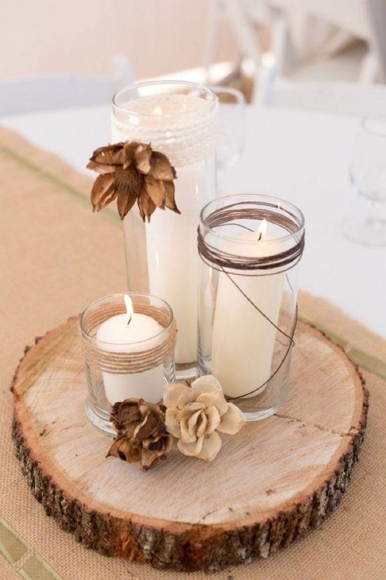 182 centros de mesa navide os con frascos latas pi as velas botellas - Como hacer una mesa baja de salon ...