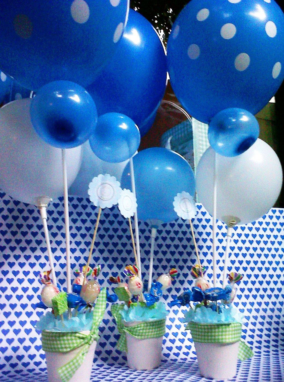 Centros de mesa con golosinas y globos para fiestas infantiles - Ideas para decorar mesas de chuches ...