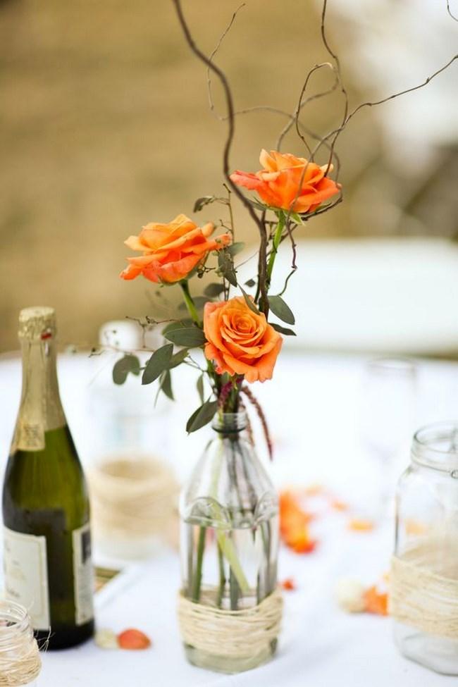 Centros de mesa con materiales reciclados botellas vidrio madera - Mesas de centro que se elevan ...