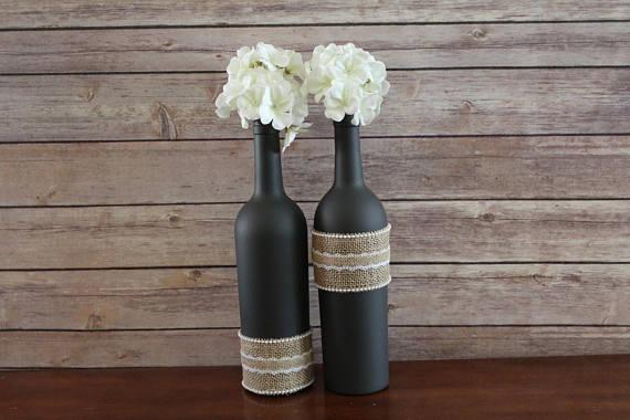 Botellas De Vino Decoradas Para Primera Comunion.Centros De Mesa Con Materiales Reciclados Botellas Vidrio