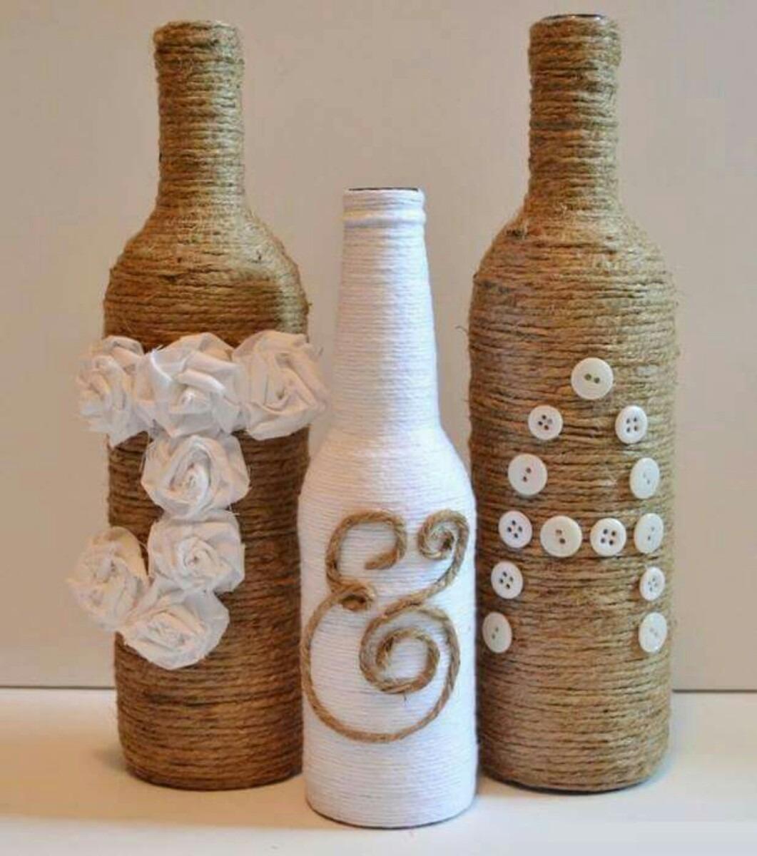 Centros de mesa con materiales reciclados botellas - Decoracion de botellas ...