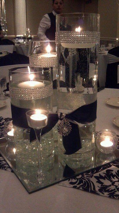 Centros de mesa decoraci n y arreglos para fiestas 2018 for Mesa cristal y dorado