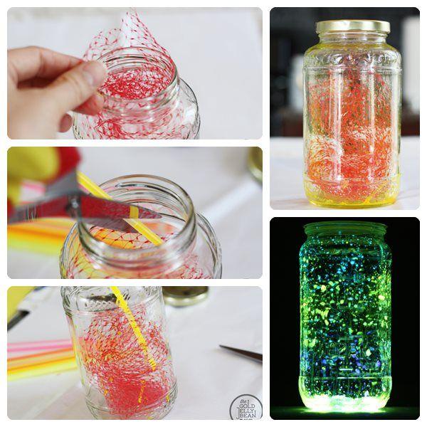 Centros de mesa infantiles con frascos y botellas de vidrio - Sobre de cristal para mesa ...