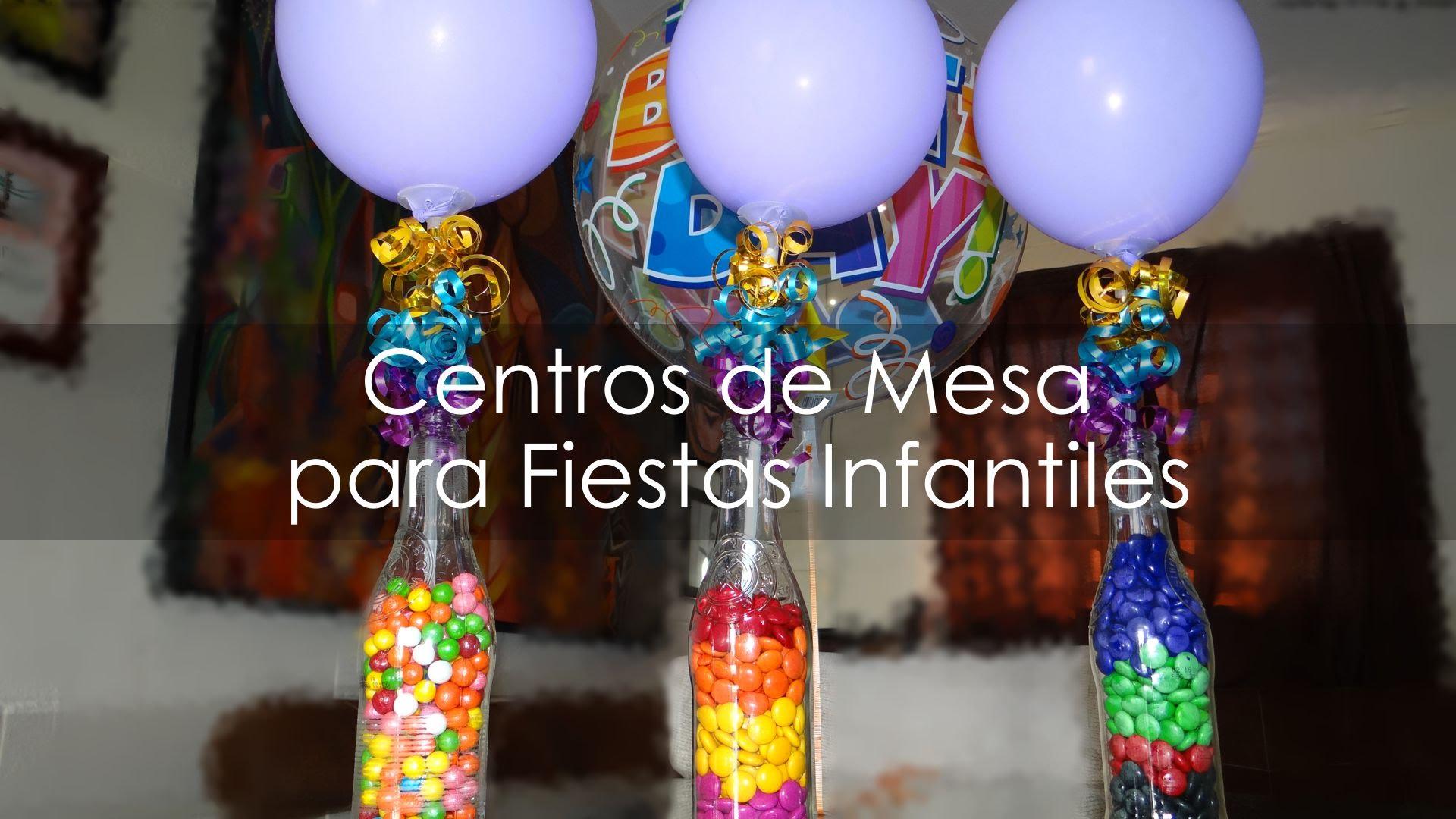 Centros de mesa infantiles con frascos y botellas de vidrio - Decoracion de mesa de cumpleanos infantil ...