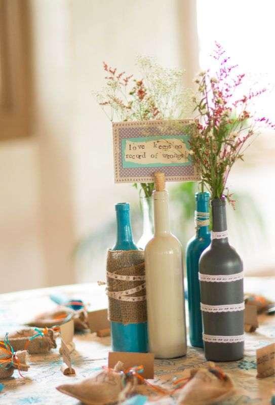Centros de mesa infantiles con frascos y botellas de vidrio - Centros de mesa con botellas ...