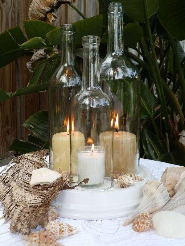 Centros de mesa infantiles con frascos y botellas de vidrio - Botellas con velas ...