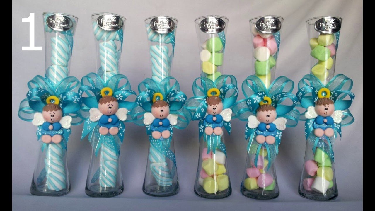 Recuerdos Para Bautizo Nino Con Dulces.Centros De Mesa Infantiles Con Frascos Y Botellas De Vidrio