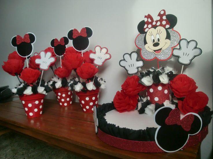 Centros De Mesa De Mickey Y Minnie Mousse - Adornos-de-minnie-para-cumpleaos