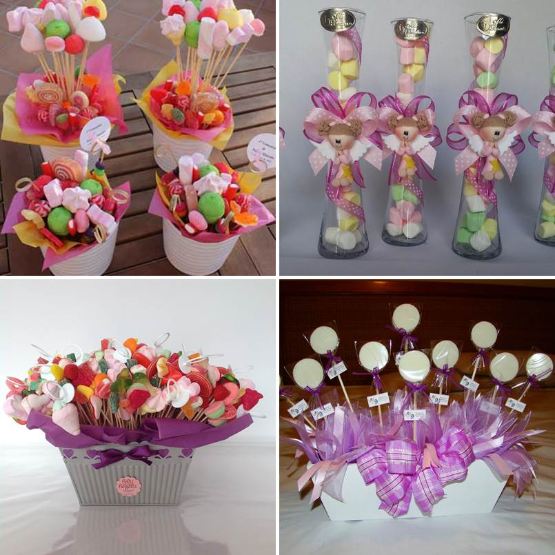 Centros de mesa con dulces para fiestas infantiles - Adornar mesas de comunion ...