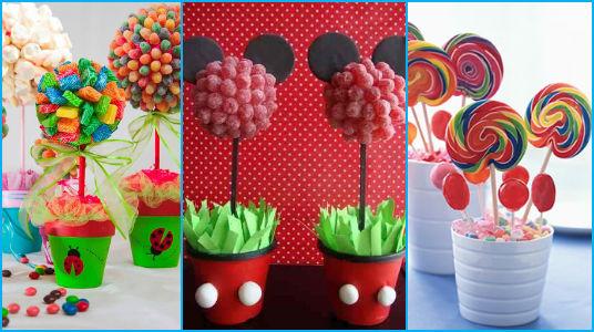 Centros de mesa con dulces para fiestas infantiles - Decoracion de mesa de dulces ...
