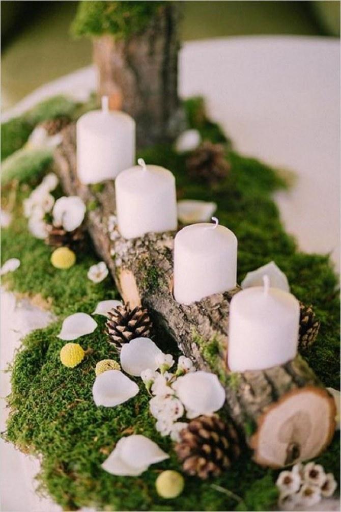 Centros de mesa r sticos y originales con troncos maderas - Centros de mesa con pinas secas ...