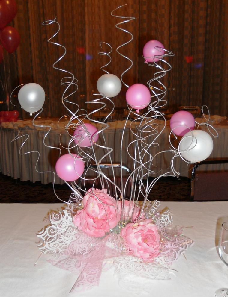 Centros de mesa con globos muy originales y econ micos - Arreglos de mesa para cumpleanos de nina ...