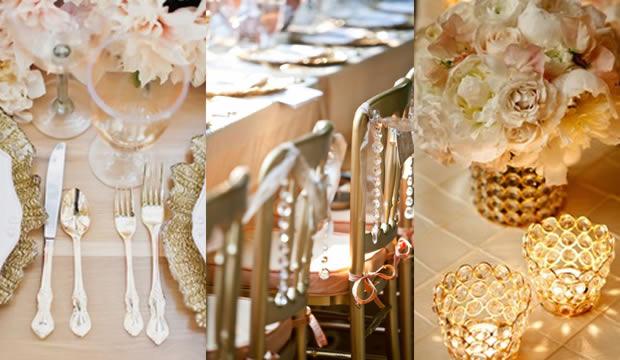 decoración y adornos dorados para la boda de oro ( 50 años de