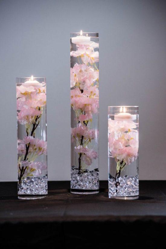 110 Espectaculares Centros De Mesa Con Copas Y Vasos De Cristal
