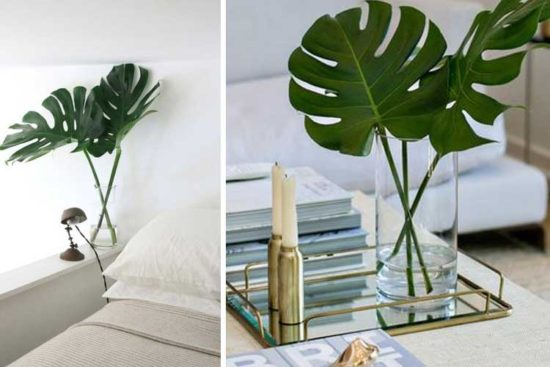 Centros de mesa, decoraciones y arreglos florales con hojas de ...