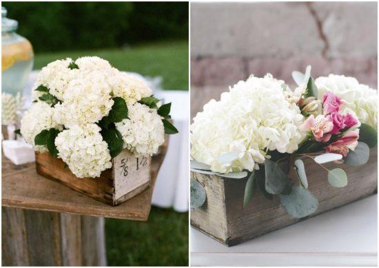 Centros De Mesa Y Arreglos Florales Con Hortensias Para Bodas